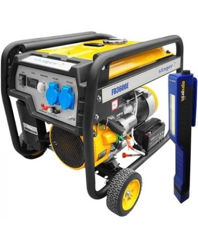 Generator electric monofazat Stager FD 3600E 3 kW AVR pornire Electrica + Lanterna LED magnetica AgroPro