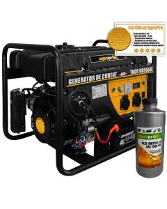 Pachet generator curent profesional AgroPro THOR GG 3400E 2.6 KVA 2 moduri de pornire AVR automat 7CP monofazat + Cadou 1l ulei motor AgroPro