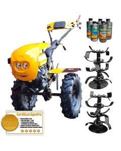 Pachet motocultor Profesional AgroPro HS 1100D motor 18CP Benzina FAR EURO 5 + CADOU 3L Ulei transmisie AgroPro 1.5L Ulei motor