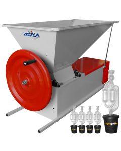 Zdrobitor desciorchinator manual ENO 3 Smalto role aluminiu tambur inox 1200 kg/h + Cadou 5 buc. Dop cu serpentina 25-50 L 50/35X55 AgroPro  Fabricat in Italia